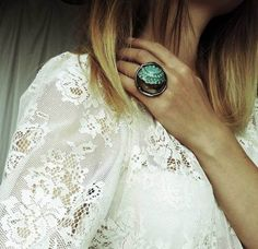 Błękitna Koronka w MARIAELA na DaWanda.com Designer, Gemstone Rings, Shabby, Etsy, Gemstones, Jewelry, Fashion, Lace, Ring