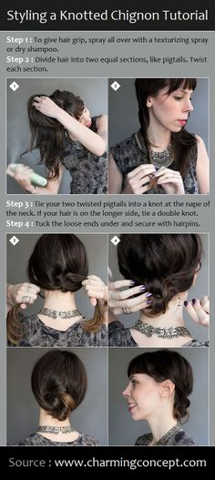 Styling a Knotted Chignon Tutorial | PinTutorials