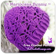 Mariposas Beanie Side View | The Crochet Lounge™ Free Crochet Pattern