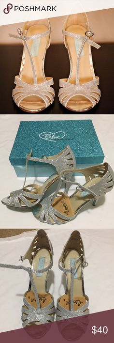 "•Betsey Johnson• Wedding Shoes •Blue by Betsey Johnson•  >Wedding or formal strapping heels >Silver with ""something blue"" bottoms >Size 7.5 >EUC: Excellent Used Condition >Worn 1 time on my wedding day! >They look beautiful popping out under your dress  🚭Smoke free house. 🐶Pet free house. 🚫No trades.  Make me an offer I can't refuse! 💋 BUNDLE to save on shipping! 📦 Betsey Johnson Shoes Heels"