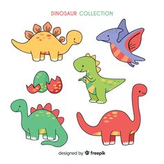 Collection of dinosaurs hand-drawn vector Free Dinosaur Drawing, Cartoon Dinosaur, Cute Dinosaur, Dinosaur Party, Dinosaur Birthday, Dinosaur Images, Die Dinos Baby, Baby Dinosaurs, How To Draw Dinosaurs