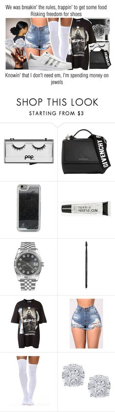 """""""Left Hollywood x Meek Mill"""" by juicyums ❤ liked on Polyvore featuring Pop Beauty, Givenchy, LMNT, Torrid, Rolex, Charlotte Russe, Effy Jewelry and adidas Originals"""