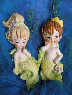 Vintage Mermaid Merboy set by Lefton