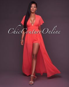 Chic Couture Online - Velma Coral Deep V Romper Maxi Dress, (http://www.chiccoutureonline.com/velma-coral-deep-v-romper-maxi-dress/)