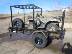 Ok, so I have a utility trailer I bought from Lowes and will build a rack for my roof top tent and still have room to carry my ATV. Quad Trailer, Kayak Trailer, Trailer Build, Atv Trailers, Adventure Trailers, Custom Trailers, Enclosed Trailer Camper, Off Road Camper Trailer, Expedition Trailer