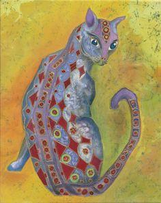 Cat -silk painting by Alena Vyborna