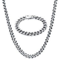 """Men Necklaces, TOTU Curb Chain Necklace Bracelet Jewelry Set for Men Women, 10mm Width, 24""""/8.5"""" Length"""