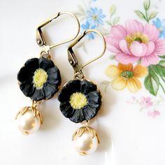 Black Flower Pearl Earrings by NestPrettyThingsShop on Etsy, $24.00