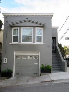 painted roof tiles garage door and added white trim - Exterior Door Trim Stucco