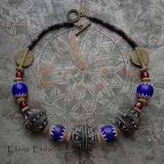 Antique chevron beads, Mali beads,baule bronze beads Ivory Cost, glass. Handmade by Elena Erda