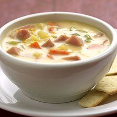 Cheesy Ham Chowder A filling bowl of hot soup is the perfect recipe for a cold day. Ham Chowder, Chowder Recipes, Soup Recipes, Great Recipes, Cooking Recipes, Favorite Recipes, Cooking Ideas, Recipe Ideas, Ham Soup