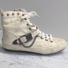 Sam Edelman Alexander Leather High Top Creamy white/distressed matte nubuck leather high tops have studs, chains AND buckles. Sam Edelman Shoes Sneakers