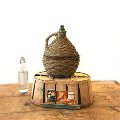 Antique Wicker Wrapped Demijohn  Huge Dame Jeanne 10 Litres