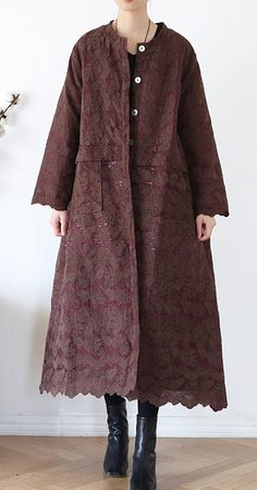 Luxury chocolate women coats oversize warm winter coat o neck Jacquard outwear
