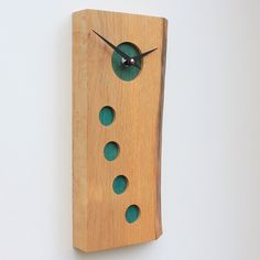 Oblong English Oak Wall Clock with Natural Edge and Inserted Turquoise Wood Pieces
