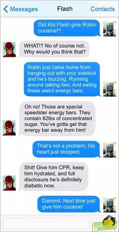 Superhero Texts, Kid Flash, Energy Bars, Lol, Random, Casual, Fun