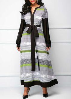 18eed4275a0dc Split Neck Mesh Panel Printed Maxi Dress | modlily.com - USD $31.14 Dress  With