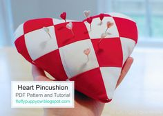 Fluffy Puppy Quilt Works: Heart Shaped Pincushion Tutorial and PDF Pattern in 3 sizes