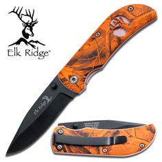 Elk Ridge Small Tactical knife Orange Camo.  www.ceknives.com