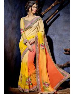 Charming Shaded Yellow and Orange #Saree