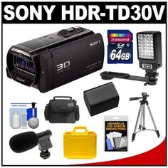 Sony Handycam HDR-TD30V 3D 1080p HD Video Camera Camcorder (Black) with 64GB Card + Battery + Waterproof & Soft Cases + LED Video Light + Microphone + Tripod + Accessory Kit
