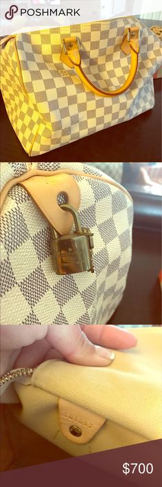 Authentic Louise Vuitton Speedy 30 Pre loved gorgeous damier speedy 30 bag. Very clean, minimal stain not noticeable at all. Only used it 2x. Selling it because I don't need it. Dust bag and box included, no reciept. Bought it 2 years ago. Only serious offer please. Louis Vuitton Bags