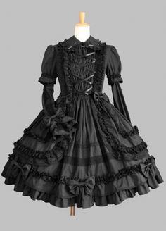 On Sale Pure Long Sleeves Gothic Black Lolita Dress Lolita Clothing #lolita #dress