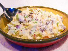 Apple Salad    1/2 c. sour cream  1/2 c. mayo  1/4 c. sugar  1.5 tsp.  lemon juice  1 granny smith apple, diced  1 gala apple, diced  1/2 c. dried cranberries  1/3 c. chopped pecans  1/4 c. minced celery    Chill for several hours before serving.