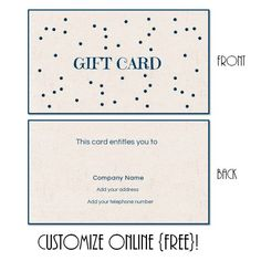 Free Printable Gift Card Templates That Can Be Customized Online. Instant  Download. You Can