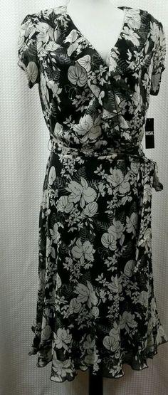 New SZ 10 MSK Woman's Black Floral Dress & Underslip Full Skirt Career Church   | eBay