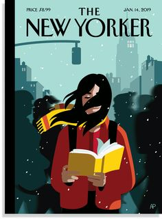 """Anna Parini / """"A New Leaf"""" cover of The New Yorker January 2019 depicts woman reading book walking down a crowded windy city street in winter, USA The New Yorker, New Yorker Covers, Art And Illustration, Magazine Illustration, Illustrations And Posters, Reading Art, Woman Reading, Magazine Art, Magazine Design"""