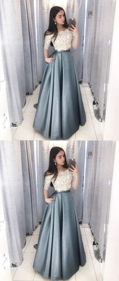 Dramatic Two Piece Long Prom Dresses with Sleeves, Off the Shoulder Grey Prom Dress with Pockets, Hottest Long Prom Party Dresses for Teens Grey Prom Dress, Elegant Prom Dresses, Cheap Evening Dresses, Dress Lace, Dress Formal, Prom Dresses For Teens Long, Lace Outfit, Wedding Dresses, Prom Dresses Long Modest