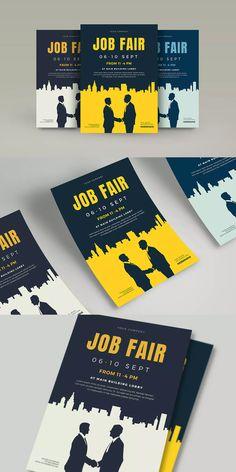 Job Fair Flyer Template AI, PSD - A4 #unlimiteddownloads