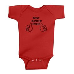 Mashed Clothing Best Hunter Ever Thumbs Up Baby Bodysuit Red 6 Months