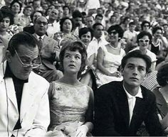 Luchino Visconti, Romy Schneider and Alain Delon. Theatre of Epidaurus, Greece 1960