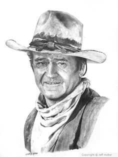 John Wayne by Jeff Holter on ARTwanted Pencil Art Drawings, Cartoon Drawings, Pencil Portrait, Portrait Photo, Westerns, John Wayne Movies, Elvis Presley Photos, Portfolio Images, Celebrity Drawings