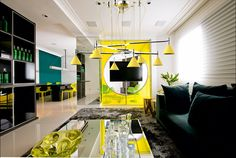 Stylish apartment by Brunete Fraccaroli HomeDSGN, a daily source for inspiration and fresh ideas on interior design and home decoration. click the image or link for more info. Interior Design Yellow, Apartment Interior Design, Luxury Interior Design, Appartement Design, Living Room Accents, Deco Design, Floor Design, Home Decor Trends, Decor Ideas