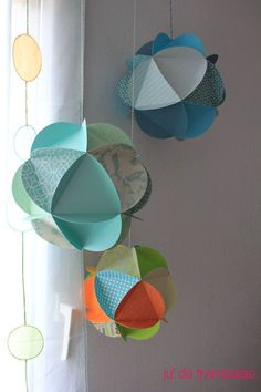 Tuto Globes de papier (DIY paper globes) by Origami Mobile, Diy Origami, Eid Crafts, Diy And Crafts, Diy Paper, Paper Crafts, Papier Diy, Paper Balls
