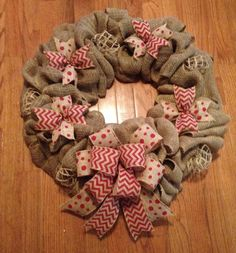 Burlap wreath with red chevron and red dot burlap ribbon.