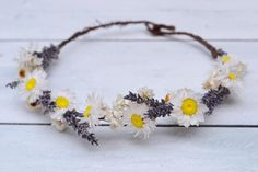 Daisy and Lavender Flower Crown Natural Boho Floral Headband Festival Flower Girl Bridesmaid Headpiece Bridal Wedding Halo Purple Modern by CGWeddingFlowers on Etsy https://www.etsy.com/listing/244425408/daisy-and-lavender-flower-crown-natural