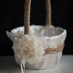 Burlap Flower Girl Basket + Ivory Ring Bearer Pillow Set \ Natural Rustic Wedding Basket & Ivory Rustic Ring Pillow with Lace and Flower