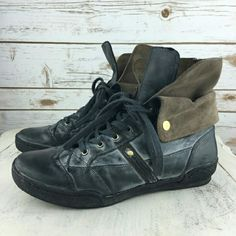 OTBT Columbia sneakers Super cool and stylish black bloomed leather high top sneakers. Wear the extra flap up or snapped down. Love these but don't like how they look on me. Just trying to get some money back....size 9, best for 8.5/9. NO damage, hardly any wear. Comfortable and versatile. NO TRADES. LOWEST PRICE OTBT Shoes Ankle Boots & Booties