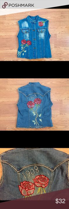 Rose Denim Rhinestone Vest Amazing! This vest is so cool! Slightly destructed with righteous rhinestone detail. It's coming up roses! The detail on the roses and leaves are just so sweet. Brand is D.D. N.Y. - Size Small - 98% cotton, 2% Lycra. Jackets & Coats Jean Jackets