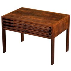 Illum Wikkelso Folding Table Rosewood |   HEIGHT:	23.62 in. (60 cm) WIDTH:	16.14 in. (41 cm) DEPTH:	15.75 in. (40 cm)  From https://www.1stdibs.com/furniture/tables/nesting-tables-stacking-tables/