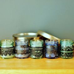 Set of Three Moroccan Inspired Mini Jar Candles- Blue Glass with Black Lace Detailing. $20.00, via Etsy.