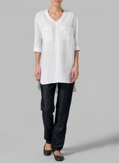Linen Drop-shoulder Tunics