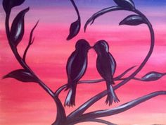 Join us for a Paint Nite event Sun Sep 2015 at 328 Smith Haven Mall Lake Grove, NY. Purchase your tickets online to reserve a fun night out! Easy Canvas Painting, Simple Acrylic Paintings, Easy Paintings, Diy Painting, Painting & Drawing, Canvas Art, Love Birds Painting, Bird Canvas Paintings, Love Birds Drawing