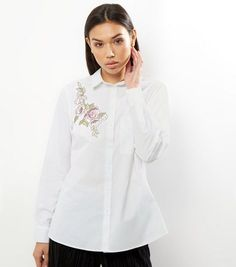 White Floral Badge Cotton Shirt   New Look