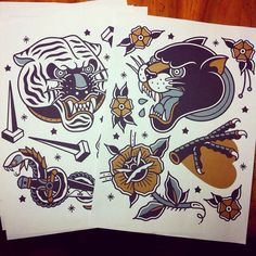 Tiger and jaguar tattoo design