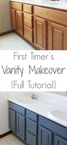 Love this step by step tutorial on painting a vanity. #homeMakeover